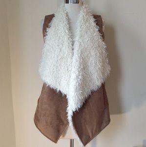Ella Moss faux shearling sweater vest jacket XS